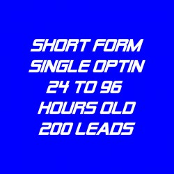 Short Form Single Optin-24-96 Hour-200 Leads