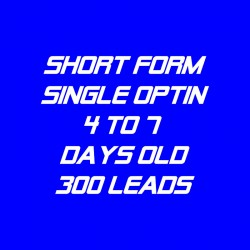 Short Form Single Optin-4-7 Days Old-300 Leads