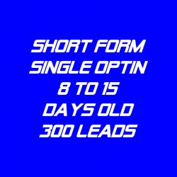 Short Form Single Optin-8-15 Days Old-300 Leads