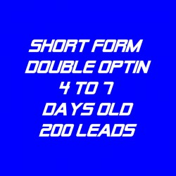 Short Form Double Optin-4-7 Days Old-200 Leads