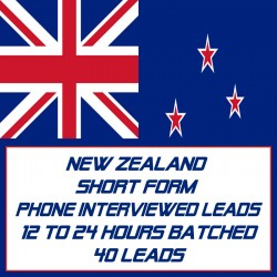 New Zealand Short Form Phone Interviewed Leads-12-24 Hours Batched-40 Leads